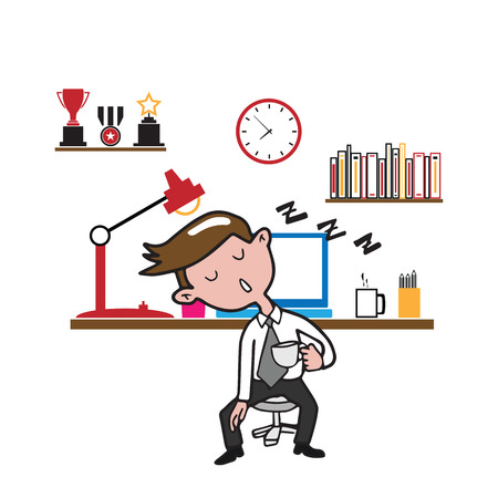 cartoon sick: Man sleeping at work cartoon drawing Illustration