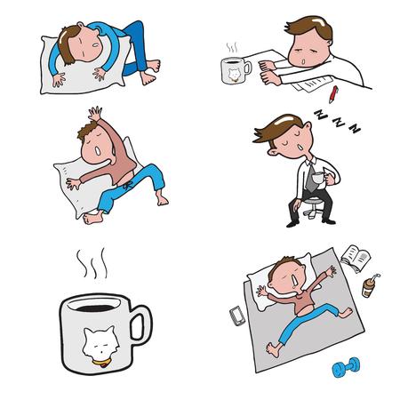 one bedroom: Man sleeping postures cartoon drawing