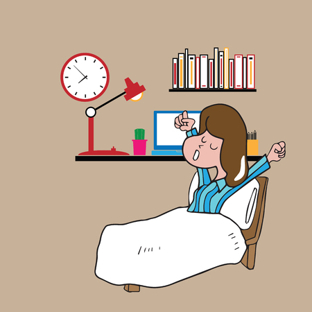 up time: Girl wake up lazily cartoon drawing