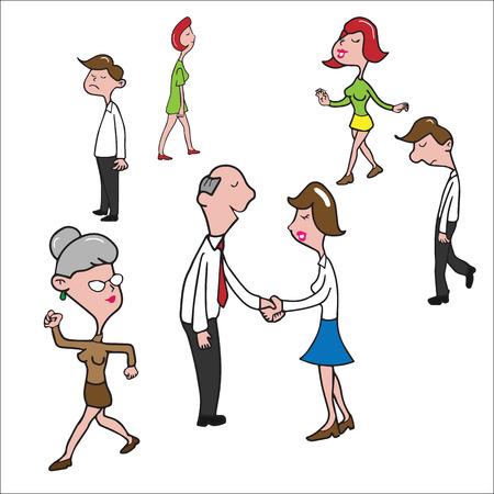 Conocer Gente Nueva De Dibujos Animados Apretón De Manos