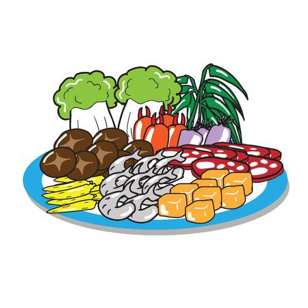 Sukiyaki set of meat vegetable mushroom shrimp