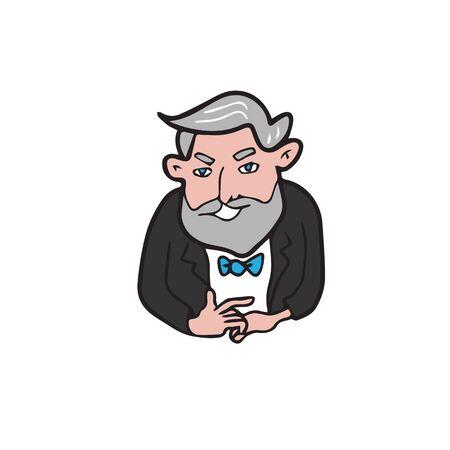 grey hair: Businessman grey hair and beard Illustration