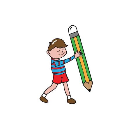 pencil cartoon: Boy holding big pencil cartoon drawing