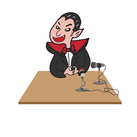 cartoon vampire: Vampire interview microphone cartoon drawing