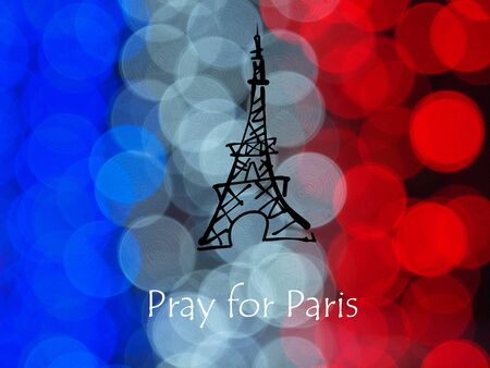 massacre: Pray for Paris flag and Eiffel