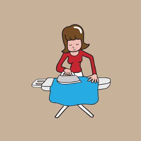house work: Woman ironing clothe house work cartoon drawing