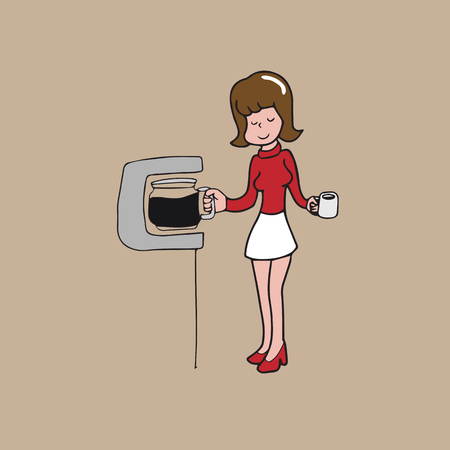coffee filter: Woman and coffee filter machine cartoon drawing