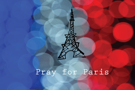 massacre: Pray for Paris flag and Eiffel
