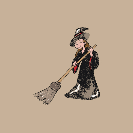 witch on broom: People Halloween witch broom house cleaning