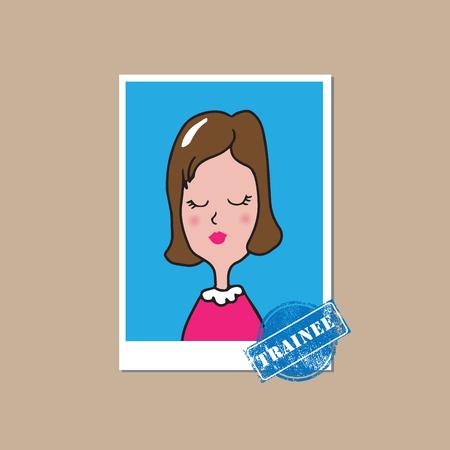 intern: People businesswoman trainee cartoon drawing