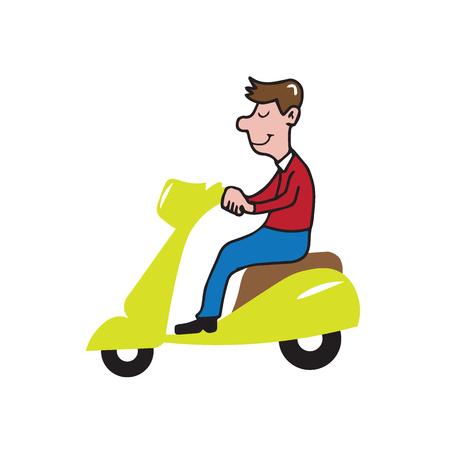 ridding: People man ridding scooter cartoon
