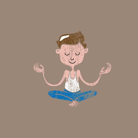 meditation man: People fitness man meditation balance stamp Illustration