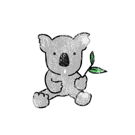 koala: Animal wild Koala cartoon drawing stamp Illustration
