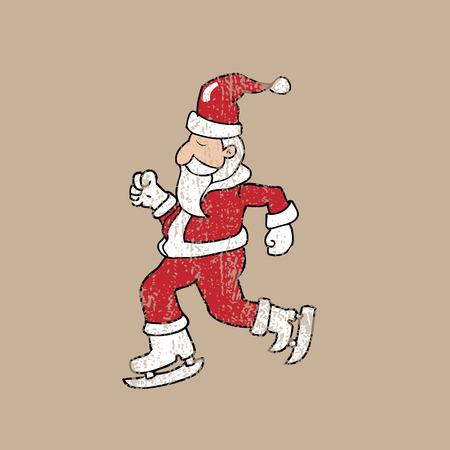 ice skate: Ice skate Santa Christmas cartoon