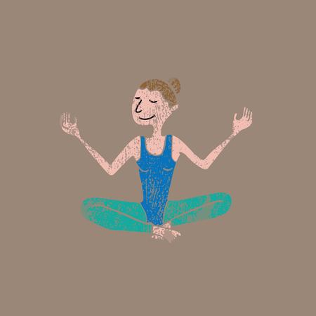 woman meditation: People fitness woman meditation balance stamp