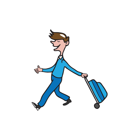 man carrying: People man carrying baggage cartoon Illustration