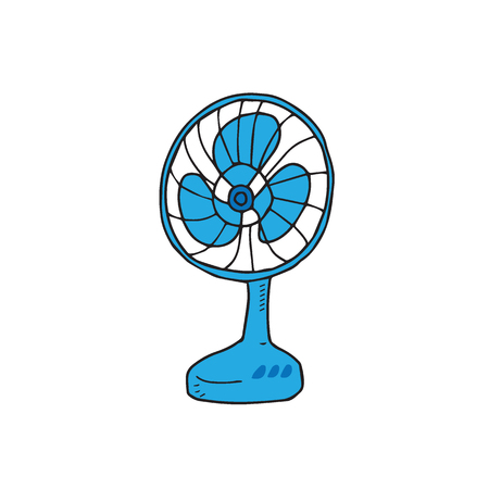 electric fan: House item electric fan cartoon Illustration
