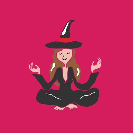 People Halloween witch meditation balance