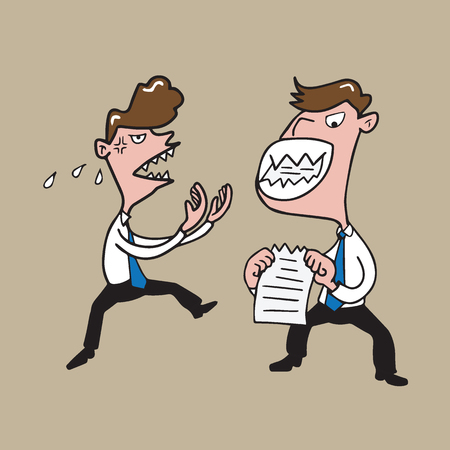 chewing: People businessman angry and chewing paper Illustration