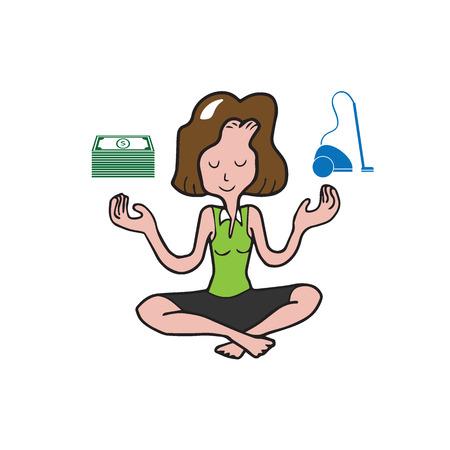 balances: People woman balances money and vacuum Illustration