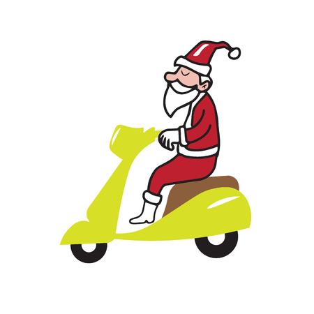 ridding: People Christmas Santa ridding scooter