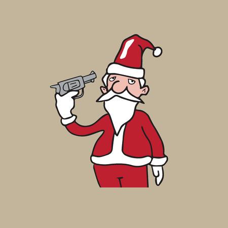 People Christmas Santa pistol suicide cartoon