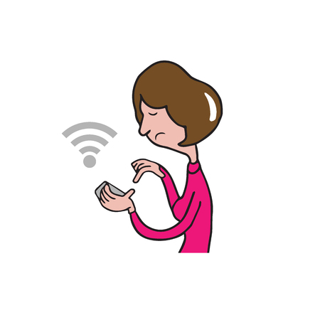 smart phone woman: People woman holding smart phone connecting wifi