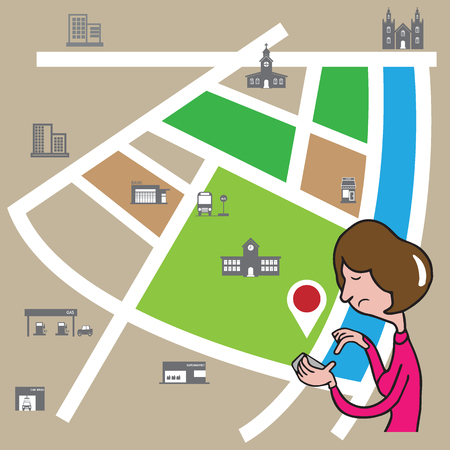 smart phone woman: People woman holding smart phone finding location