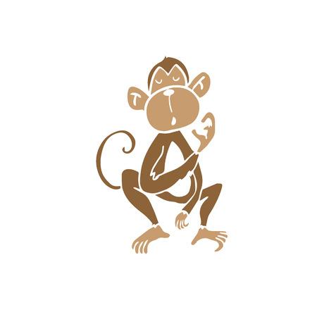 and scratching: Animal wild monkey scratching cartoon