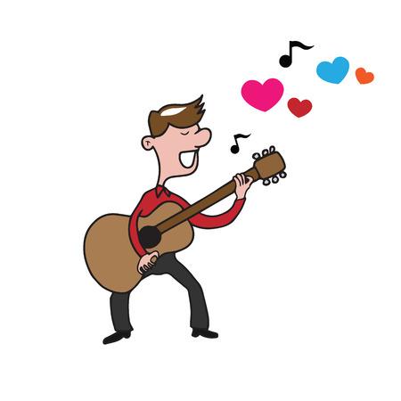 man playing guitar: People man playing guitar love song