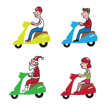 female driver: People ridding scooter cartoon set