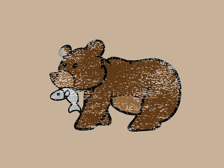 catching: Brown bear catching fish in mouth Illustration