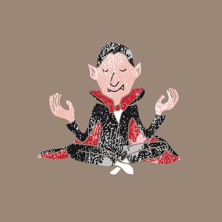 peace stamp: People Halloween vampire meditation balance stamp Illustration