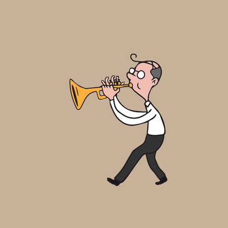 blowing: Music instrument old man blowing trumpet Illustration