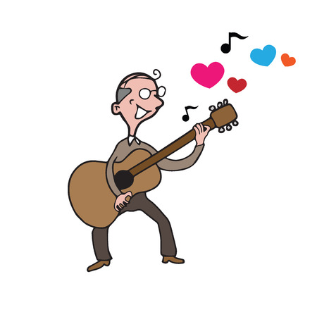 the song: People old man playing guitar love song Illustration