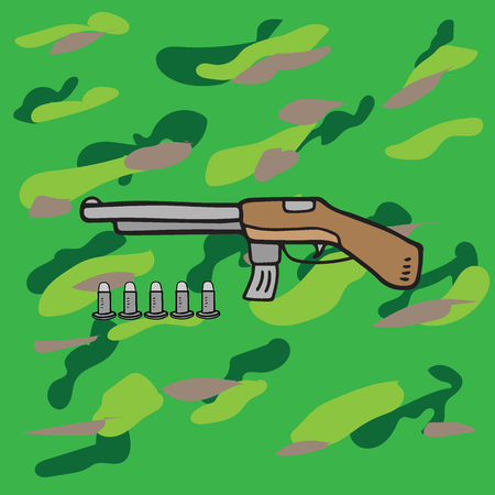 bullets: Weapon armed objects shotgun and bullets Illustration