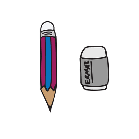 eraser: Stationery objects pencil and eraser Illustration