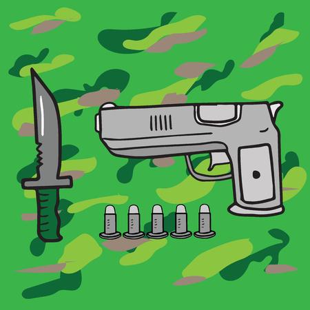 bayonet: Weapon war objects pistol and bullets bayonet