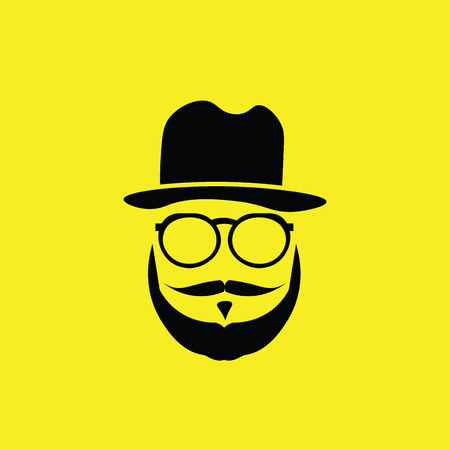 black head and moustache: People hipster greek man vector