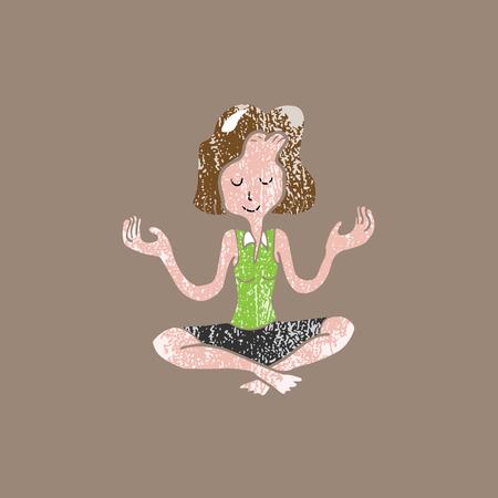 mediation: People woman mediation balance cartoon stamp