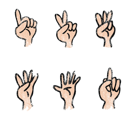 Hands fingers count cartoon set