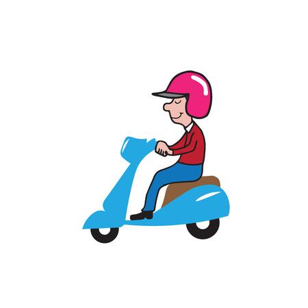 Transportation man ridding scooter cartoon