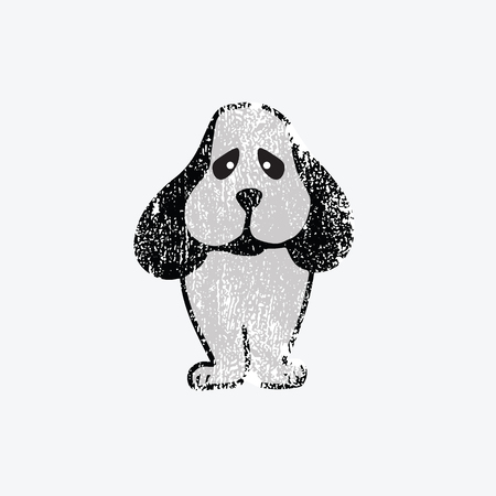 loveable: Animal dog cartoon drawing grunge texture Illustration