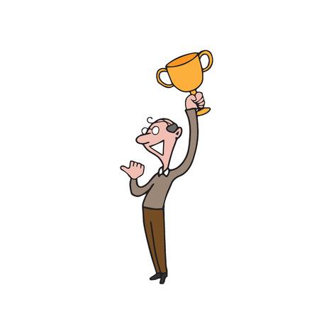 old people: People winner trophy old man cartoon