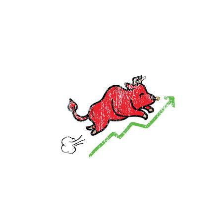 bullish: Bullish stock market progression cartoon