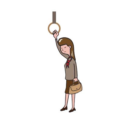 alone in crowd: Transportation woman standing in train