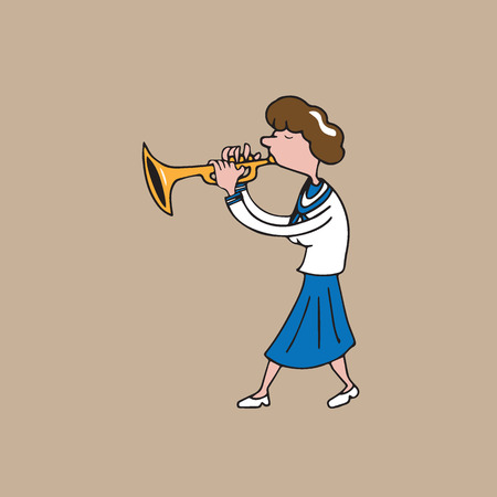 girl blowing: Music instrument school girl blowing trumpet Illustration