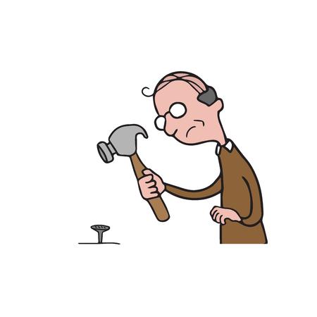 old people: People old man holding hammer cartoon