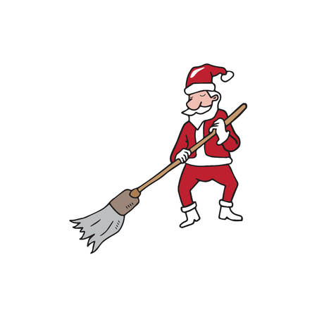 groundskeeper: People Christmas Santa broom house cleaning