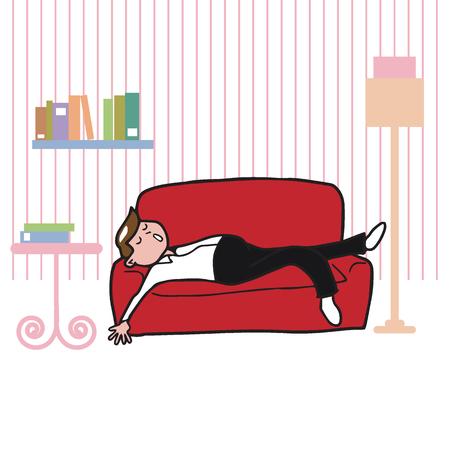 tried: People man sleeping on sofa